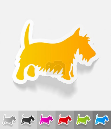 Scottish terrier paper sticker with shadow. Vector...
