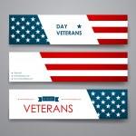 Set of modern design banner template in veterans d...