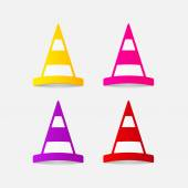 Realistic design element: road cones icon Vector illustration