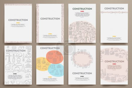 Corporate identity vector templates set with doodles constructio