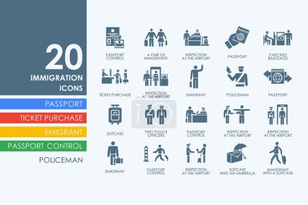 Immigration vector set of modern simple icons...