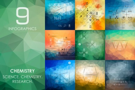 Chemistry vector infographics with unfocused polyg...