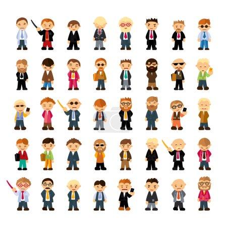 Illustration pour Ensemble de personnages de personnes dans le style plat. Différentes émotions dans le vecteur - image libre de droit