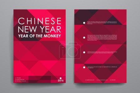 Illustration for Set of Chinese New Year brochures in abstract style in vector - Royalty Free Image