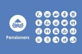 Set of pensioners simple icons