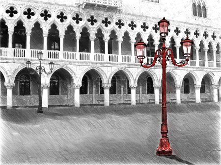 Doges Palace. Saint Mark square. Venice, Italy. Illustration in draw