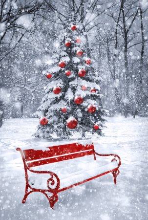 Winter Christmas background. Scene with red elemen...