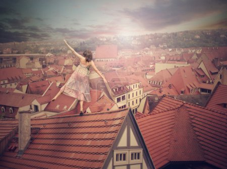 Young girl on top of the roof. Photomanipulation. Concept digital