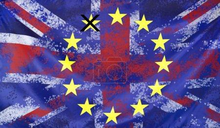 Concept Brexit UK and EU flags composition