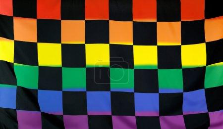 Foto de Concepto de movimiento LGBT con la bandera de meta real textil negro parte sólo colocado dentro de un fondo de bandera de arco iris borroso - Imagen libre de derechos