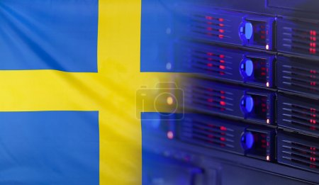 Technology Concept with Flag of Sweden