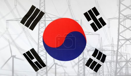 Energy Concept South Korea Flag with power pole