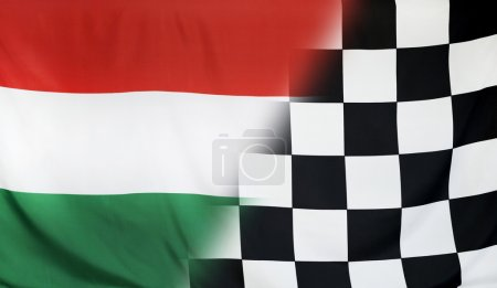 Winner Concept Hungary and checkered goal flag