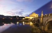 Rome Castel Sant Angelo twilight transition