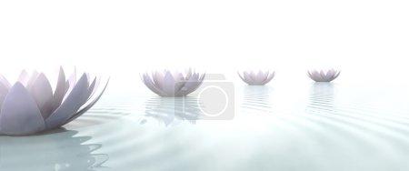 Photo pour Chemin de Zen tracée avec des fleurs de lotus sur l'eau - image libre de droit
