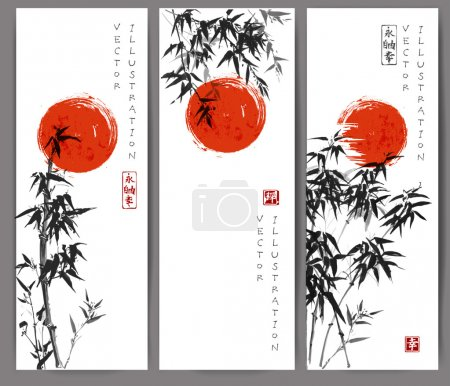 Illustration for Three banners with red sun and bamboo trees. Vector illustration. Traditional Japanese ink painting sumi-e. Contains hieroglyphs - eternity, freedom, happiness - Royalty Free Image