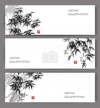 Illustration for Three banners with  bamboo trees. Vector illustration. Traditional Japanese ink painting sumi-e. Contains hieroglyphs - eternity, freedom, happiness - Royalty Free Image