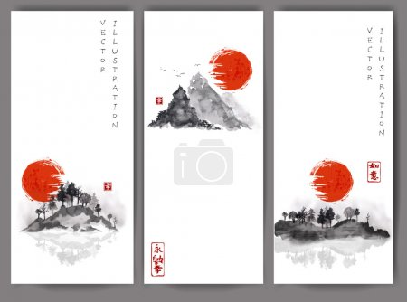 Illustration for Three banners with red sun, bamboo, mountains and island with trees. Traditional Japanese ink painting sumi-e. - Royalty Free Image