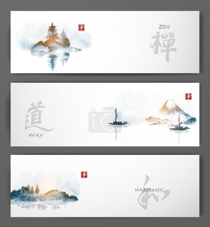 Illustration for Three banners with green bamboo, mountains and island with trees. Traditional Japanese ink painting sumi-e. Contains hieroglyphs - happiness, luck. Vector illustration - Royalty Free Image