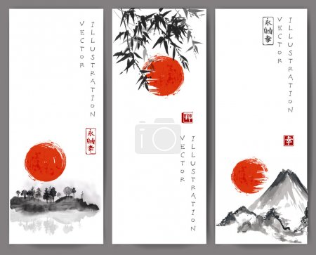 """Illustration for Vertical banners with mountains, bird, bamboo branches, pine tree branch and rising sun. Traditional Japanese painting sumi-e. Sealed with hieroglyphs """"luck' and """"happiness"""" - Royalty Free Image"""