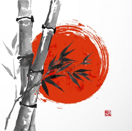 Illustration for Card with bamboo and big red sun in sumi-e style. Hand-drawn with ink. illustration. Traditional Japanese painting. bamboo-japan - Royalty Free Image