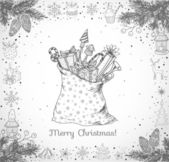Christmas card with hand-drawn snowflakes snowman lanterns candles and bag full of gifts on white background Vector sketch illustration Doodle christmas card