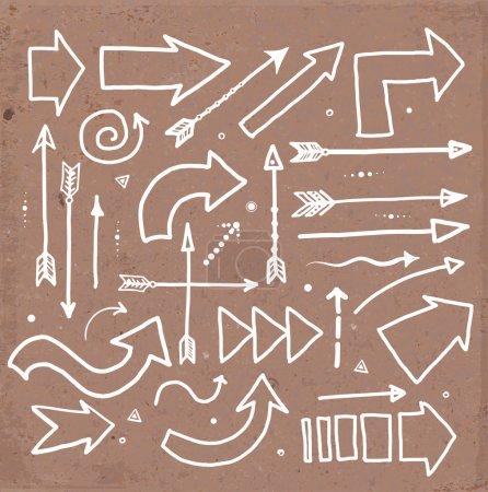 Illustration for Vector set of red doodle sketch arrows - Royalty Free Image