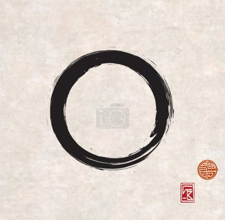Illustration for Zen circle on vintage rice paper with decorative stamps. Black circle hand-drawn with ink. - Royalty Free Image