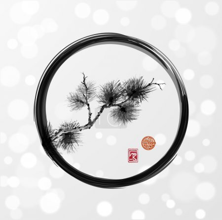 Pine tree branch in enso circle