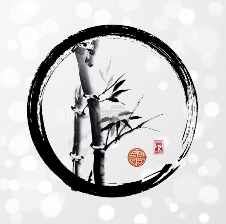 Illustration for Bamboo tree in enso circle hand-drawn with ink in traditional Japanese style sumi-e on white glowing background. Symbol of luck, happiness and long life. Sealed with decorative stylized stamps. - Royalty Free Image