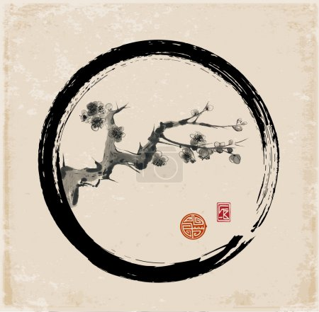 Illustration for Sakura branch in black enso circle. Seasonal cherry blossom hand-drawn with ink in traditional Japanese style sumi-e. Vector illustration. - Royalty Free Image