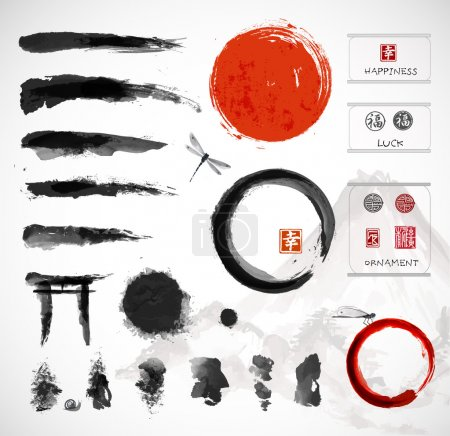 Set of brushes and other design elements, hand-drawn with ink in traditional Japanese style sumi-e