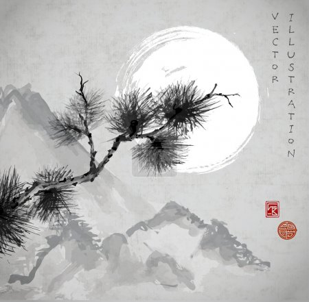 Illustration for Pine tree branch hand-drawn with ink in traditional Japanese style - Royalty Free Image