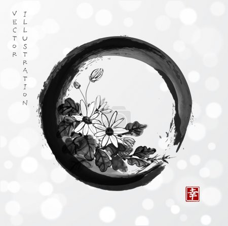 "Illustration for Chrysanthemum flowers in black enso zen circle hand drawn with ink in traditional Japanese style sumi-e on white glowing background. Sealed with hieroglyph ""happiness"". Vector illustration - Royalty Free Image"