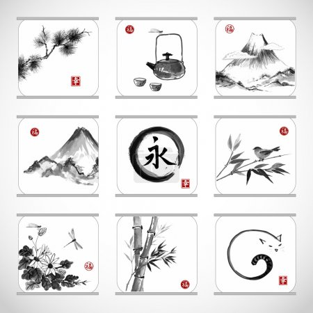 "Illustration for Collection of elements hand-drawn in traditional Japanese style sumie. Bamboo , birds, mountains, flowers, dragonflies, zen circle etc. Sealed with hieroglyphs ""luck"", ""happiness"" and ""eternity"". - Royalty Free Image"