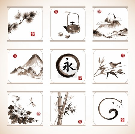 "Illustration for Collection of elements hand-drawn with ink in traditional Japanese style sumie. Bamboo and pine tree, birds, mountains, flowers etc. Sealed with hieroglyphs ""luck"", ""happiness"" and eternity - Royalty Free Image"
