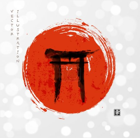 """Illustration for Torii gates and red rising sun hand-drawn with ink in traditional Japanese style sumi-e. Sealed with hieroglyph """"happiness"""" - Royalty Free Image"""