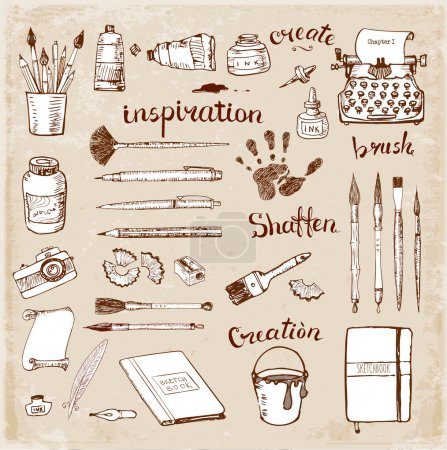 """Illustration for Sketches of vintage artist's and writer's tools. Contains """"creativity"""" lettering - Royalty Free Image"""