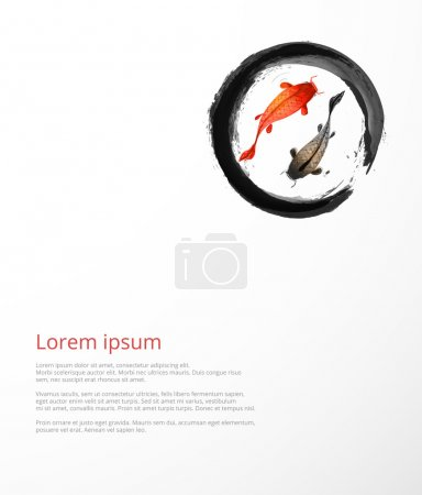 Illustration for Black enso zen circle with little red and black fishes hand drawn in traditional Japanese painting style sumi-e. - Royalty Free Image