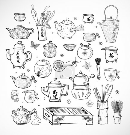 Illustration for Hand-drawn Chinese and Japanese tea objects. Tea ceremony, teapots, tea bowls and other elements in sketchy style. - Royalty Free Image