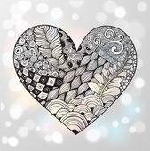 Big zentangle heart with ornament isolated on white glowing background Vector illustration