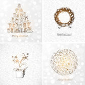 Set of doodle sketch Christmas cards