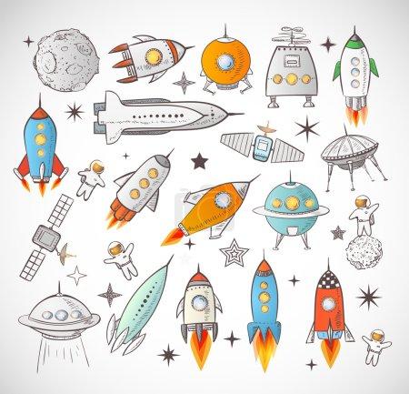 Illustration pour Collection d'objets spatiaux esquissés isolés sur fond blanc. Navires spatiaux, fusées, navette spatiale, planètes, soucoupes volantes, astronautes - image libre de droit
