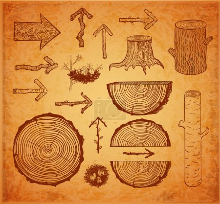 wood cuts and wooden arrows