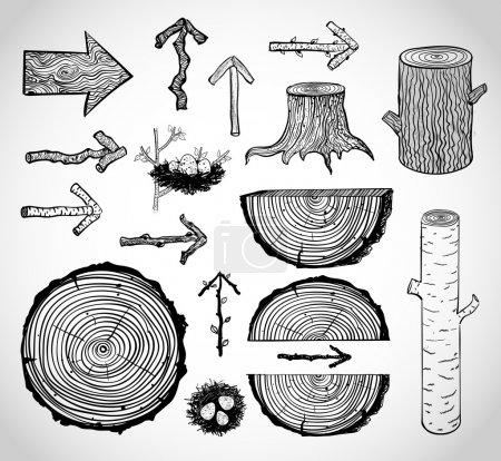 Illustration pour Croquis de coupes, bûches, souches et flèches en bois sur fond vintage - image libre de droit