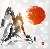 Mountains and red sun hand drawn