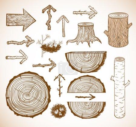 Illustration pour Croquis de coupes de bois, bûches, souches et flèches en bois dessinés à la main avec un stylo sur du papier carré. Illustration vectorielle . - image libre de droit
