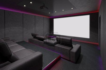 Photo pour Cinéma maison moderne intérieur. illustration 3D. - image libre de droit