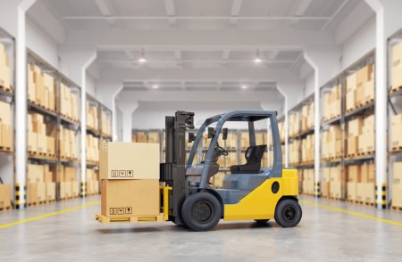 Forklift truck in warehouse. 3d illustration.