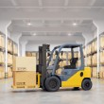 Forklift truck in warehouse. 3d illustration....